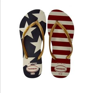 Havainas American flag flip flops
